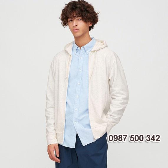 Áo chống nắng nam Uniqlo 2020 màu trắng 01 OFF WHITE - 422986