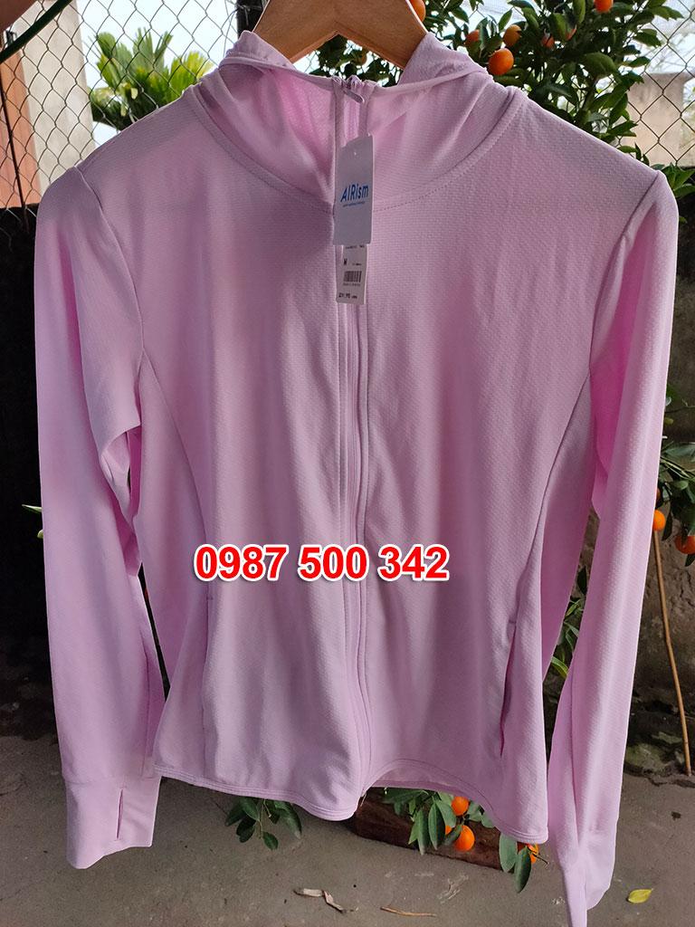 Ảnh thật áo chống nắng Uniqlo màu hồng nhạt 10 PINK mã 413363