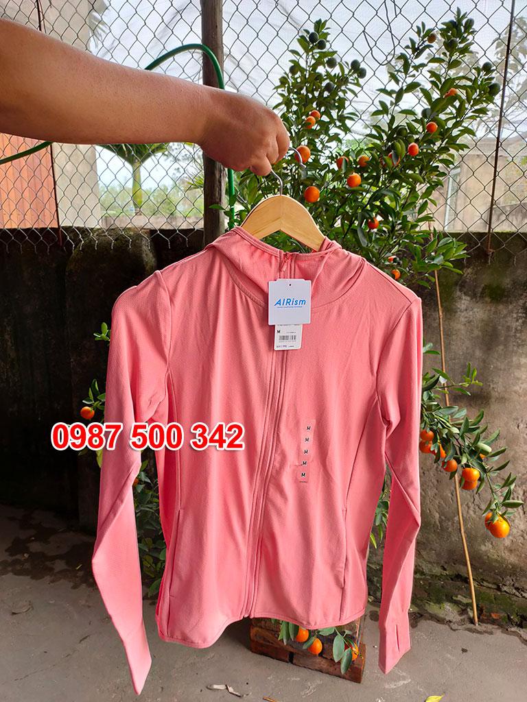 Ảnh thật áo chống nắng Uniqlo màu hồng cam 12 PINK mã 422807