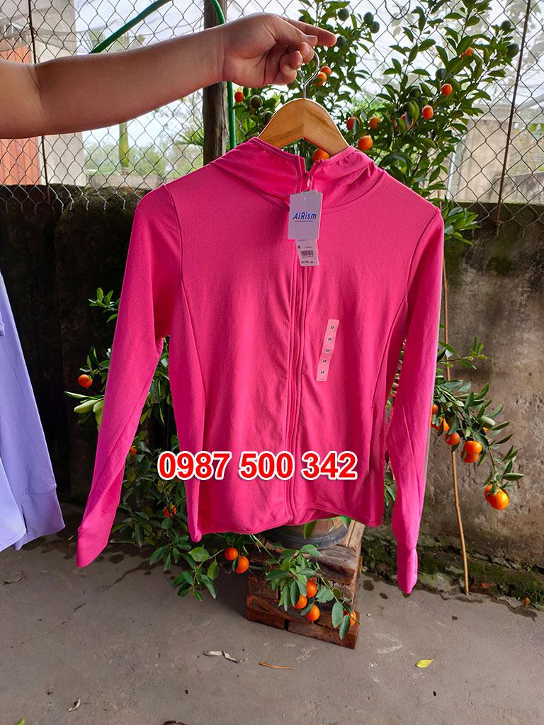 Ảnh thật áo chống nắng Uniqlo màu hồng đậm 12 PINK 413363