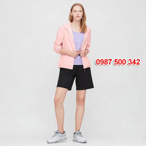 Áo gió nữ Uniqlo Nhật Bản 2020 mã 424576 màu hồng nhạt 10 PINK