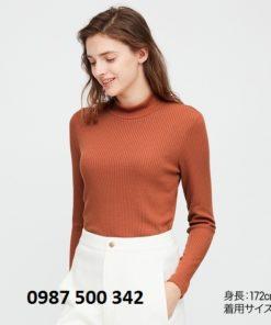 Áo len tăm cổ 3 phân dài tay Uniqlo màu cam đậm 25 ORANGE - 418231