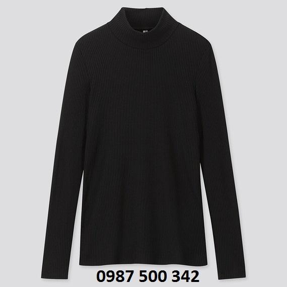 Áo len tăm cổ 3 phân dài tay Uniqlo màu đen 09 BLACK - 418231