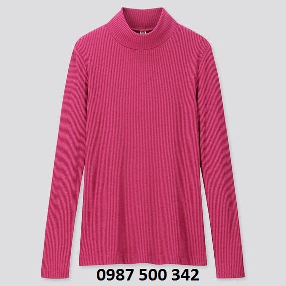 Áo len tăm cổ 3 phân dài tay Uniqlo màu hồng 12 PINK - 418231