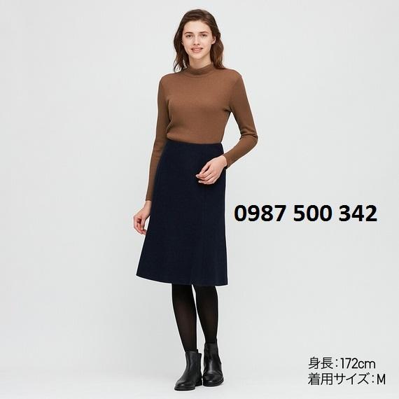 Áo len tăm cổ 3 phân dài tay Uniqlo màu nâu 35 BROWN - 418231