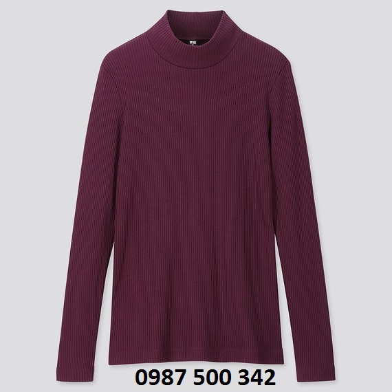 Áo len tăm cổ 3 phân dài tay Uniqlo màu tím mận 77 PURPLE - 418231