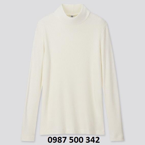 Áo len tăm cổ 3 phân dài tay Uniqlo màu trắng 01 OFF WHITE - 418231
