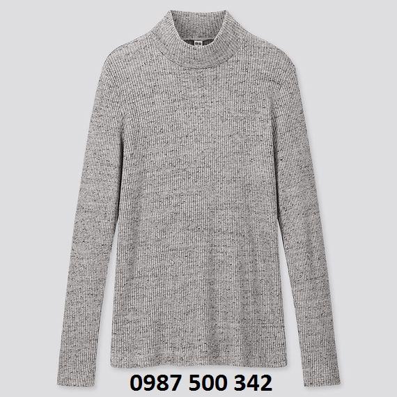 Áo len tăm cổ 3 phân dài tay Uniqlo màu xám 06 GRAY - 418231