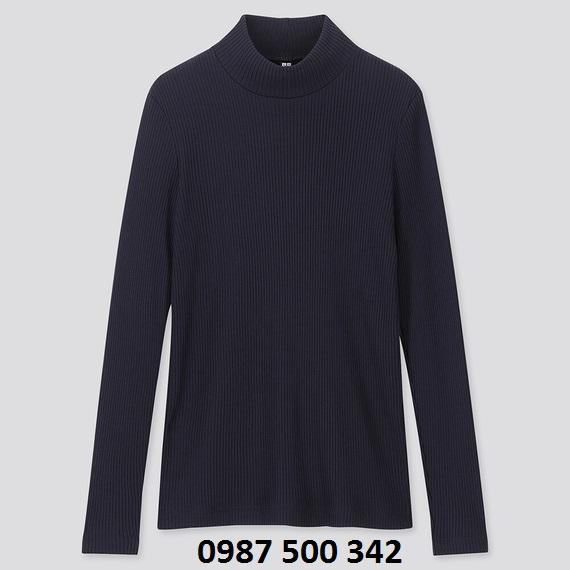 Áo len tăm cổ 3 phân dài tay Uniqlo màu xanh đen 69 NAVY - 418231