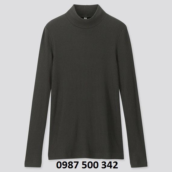Áo len tăm cổ 3 phân dài tay Uniqlo màu xanh rêu 58 DARK GREEN - 418231