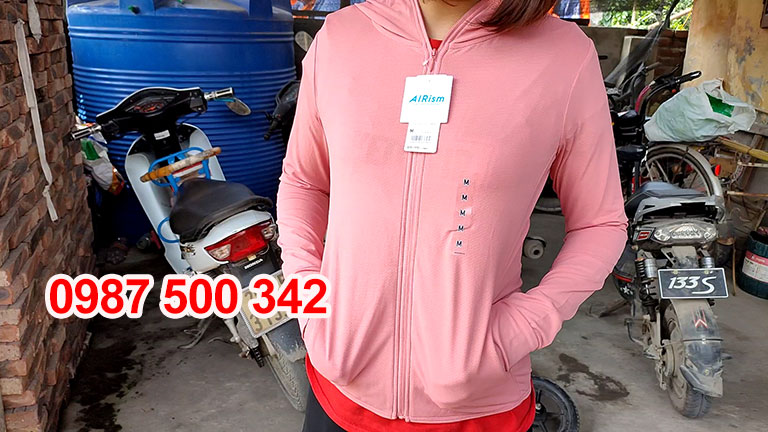 Áo chống nắng Uniqlo 2020 màu hồng cam 12 PINK-422807