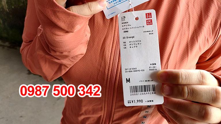Tem mác Áo chống nắng Uniqlo 2019 màu cam 23 ORANGE-413363
