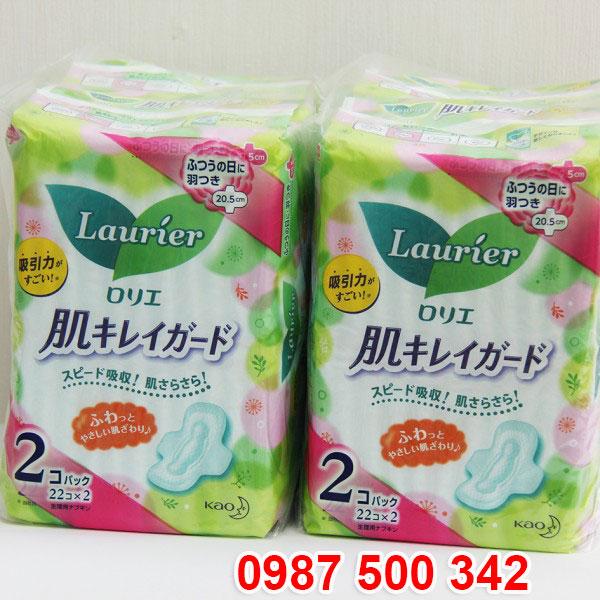 Set 2 gói băng vệ sinh Laurier có cánh (22 miếng x2) Nhật Bản