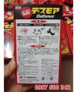 Mặt sau sản phẩm Thuốc diệt chuốt Dethmor Nhật Bản hộp 4 vỉ