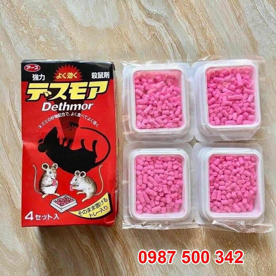 Thuốc viên diệt chuột Dethmor của Nhật Bản hộp 4 vỉ là sản phẩm thuốc diệt chuột đa liều, chuột ăn từ 1 đến 3 ngày mới chết.