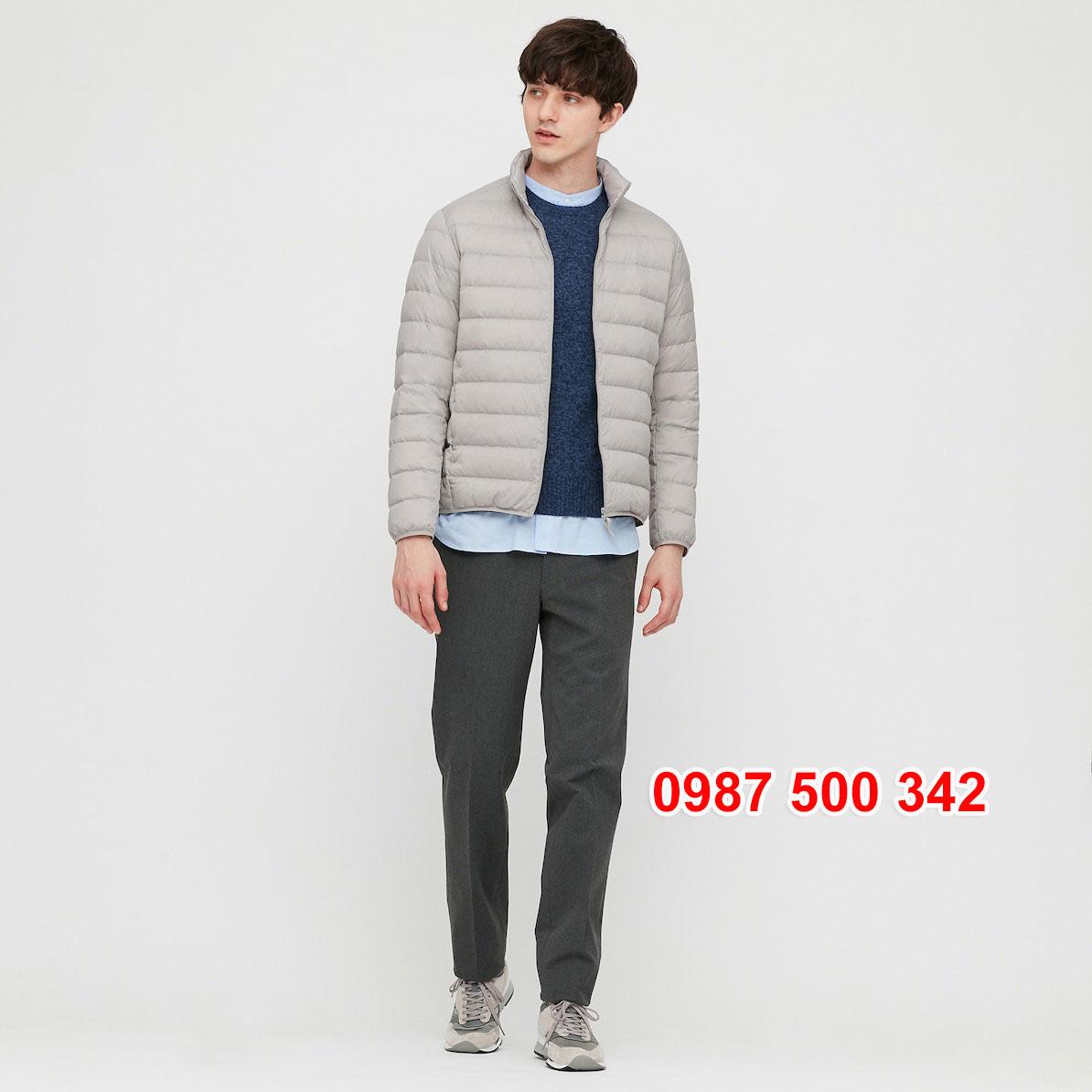 Áo lông vũ nam không mũ Uniqlo 2020 - 2021 mã 429280 áo màu ghi sáng 02 LIGHT GRAY