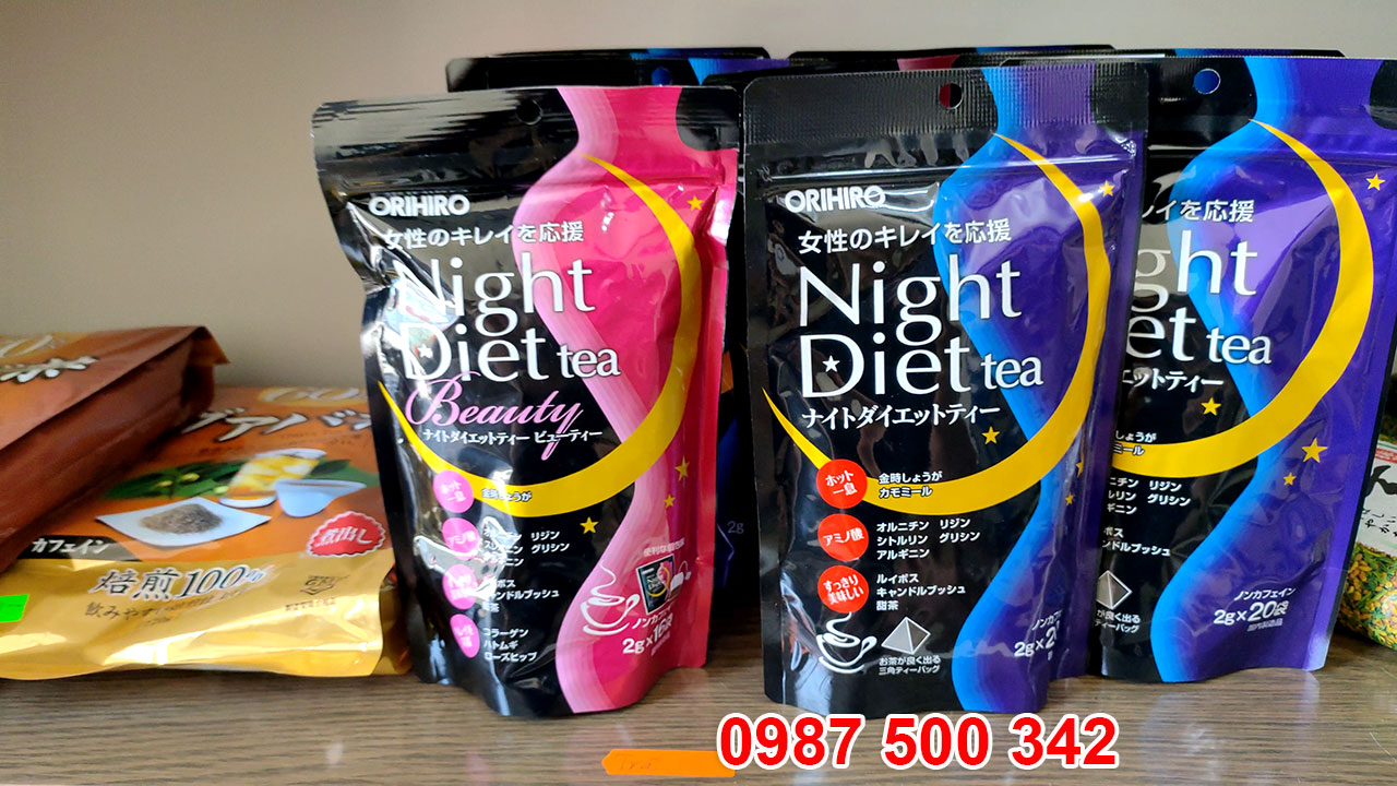 Ảnh thật sản phẩm trà giảm cân đẹp da Nhật Bản Orihiro Night Diet Tea Beauty
