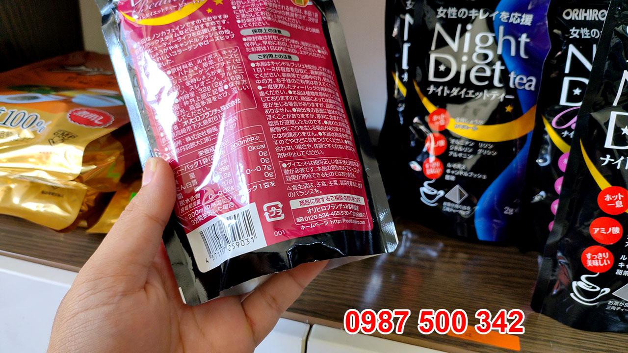 Mặt sau sản phẩm trà giảm cân đẹp da Nhật Bản Orihiro Night Diet Tea Beauty