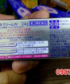 Thông tin mặt sau sản phẩm hộp Kem trị mụn Pair Nhật