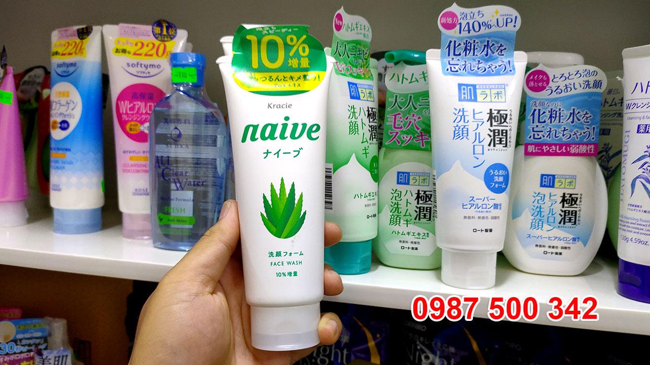 Sữa rửa mặt Naive chiết xuất lô hội 143g Nhật Bản