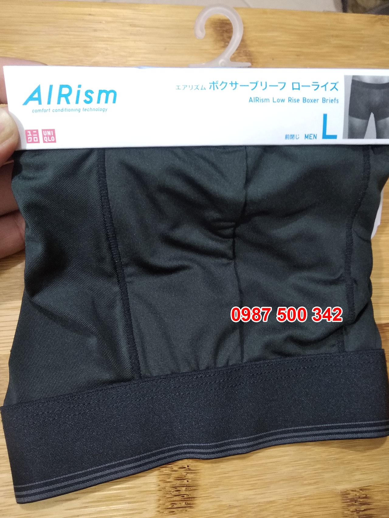 Ảnh thật quần lót nam Uniqlo AiRism vải trơn màu đen