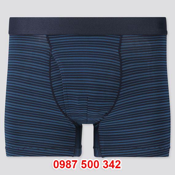 Quần lót nam Uniqlo AiRism Boxer Briefs hoạ tiết kẻ ngang màu xanh biển 65 BLUE 424678