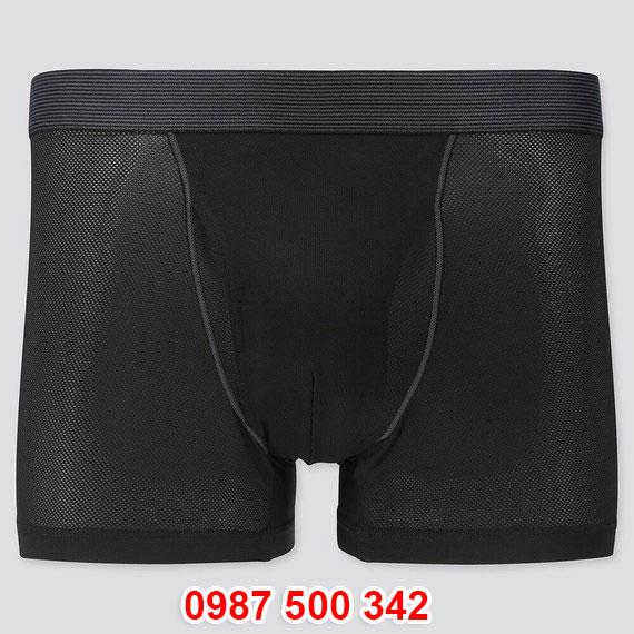 Quần lót nam Uniqlo AiRism Boxer Briefs vải mắt lưới màu đen 09 BLACK 428470