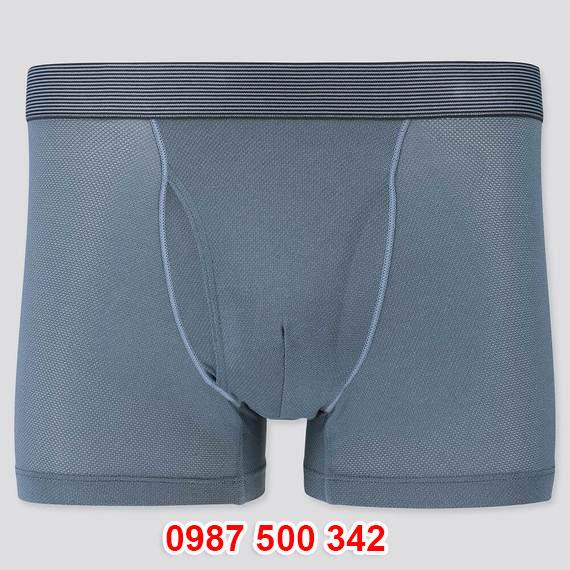 Quần lót nam Uniqlo AiRism Boxer Briefs vải mắt lưới màu xanh biển 64 BLUE 428470