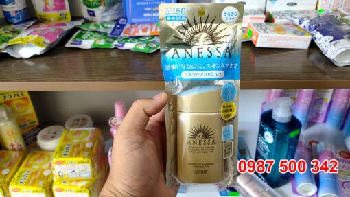 Kem Chống Nắng Anessa Perfect UV Sunscreen Skincare Milk Spf 50+ Pa++++ (60ml) dưỡng da và bảo vệ da tối đa với kết cấu mỏng nhẹ, khô ráo.