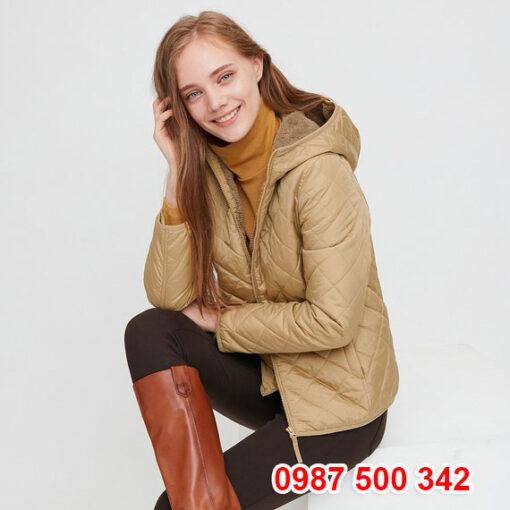 Áo khoác chần trám lót lông cừu Uniqlo 2020 - 2021 mã 432295 màu be 31 BEIGE