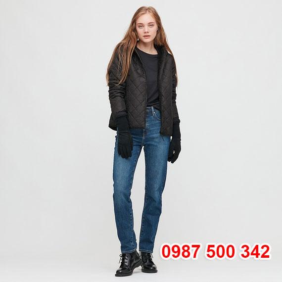Áo khoác chần trám lót lông cừu Uniqlo 2020 - 2021 mã 432295 màu đen 09 BLACK