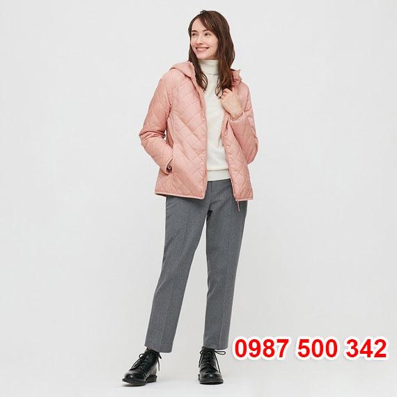 Áo khoác chần trám lót lông cừu Uniqlo 2020 - 2021 mã 432295 màu hồng nhạt 11 PINK
