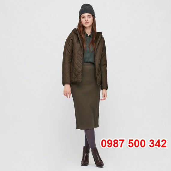 Áo khoác chần trám lót lông cừu Uniqlo 2020 - 2021 mã 432295 màu xanh rêu đậm 58 DARK GREEN