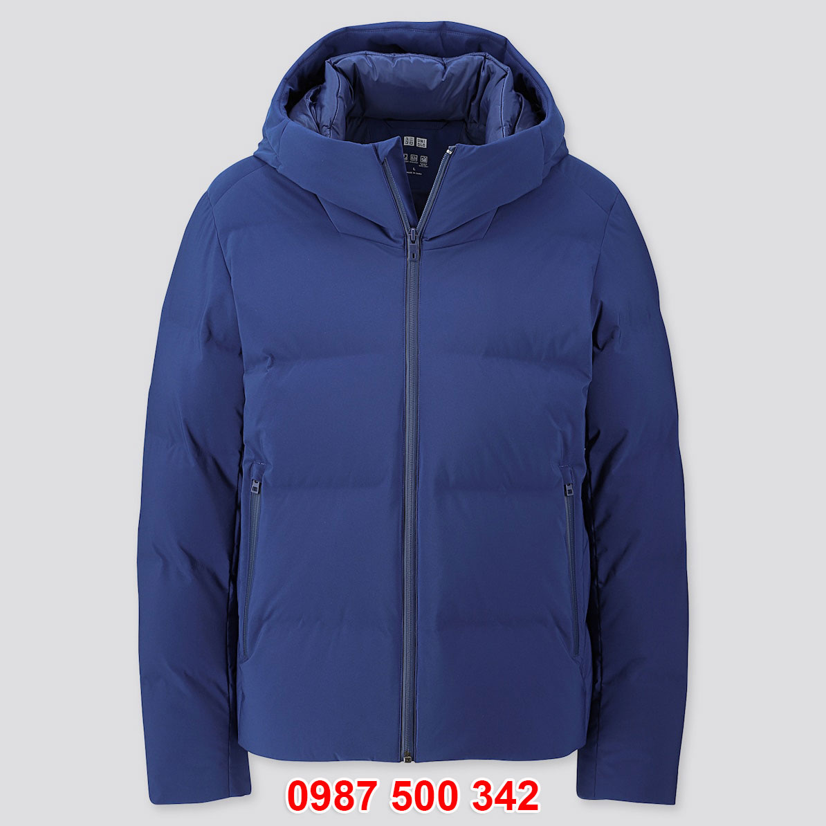 Áo phao lông vũ nam Uniqlo đại hàn dáng ngắn màu xanh biển 67 BLUE 419989