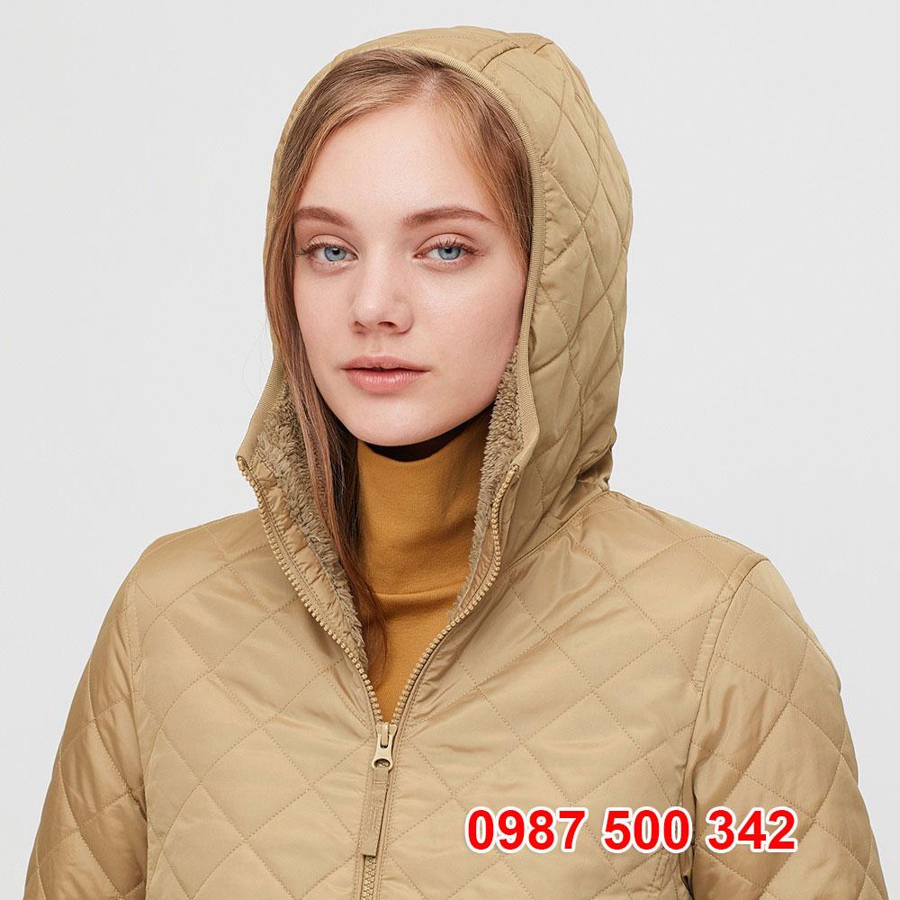Mũ Áo khoác chần trám lót lông cừu Uniqlo 2020 - 2021 mã 432295