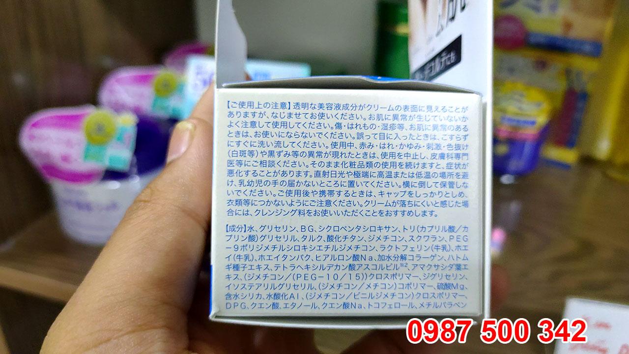 Thành phần của Kem dưỡng trắng da Instawhite tone up cream Meishoku Nhật Bản