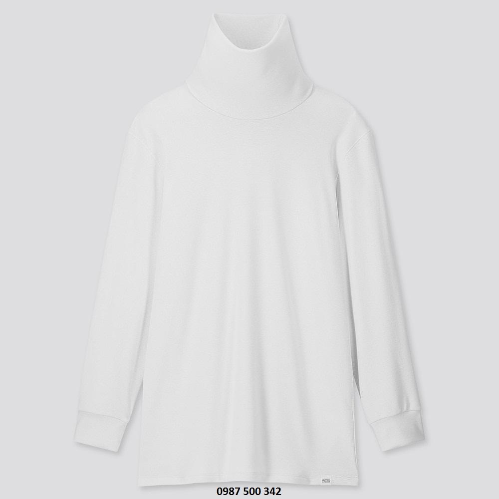 Áo giữ nhiệt nam cổ lọ Heattech Ultra Warm Uniqlo, áo vải dày bên trong lót nỉ, áo màu trắng 00 WHITE