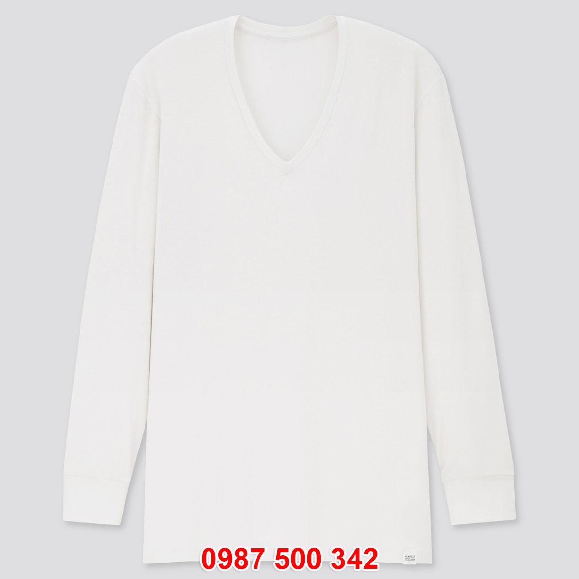 Áo giữ nhiệt nam Uniqlo Heattech Extra Warm cổ tim màu trắng 00 WHITE