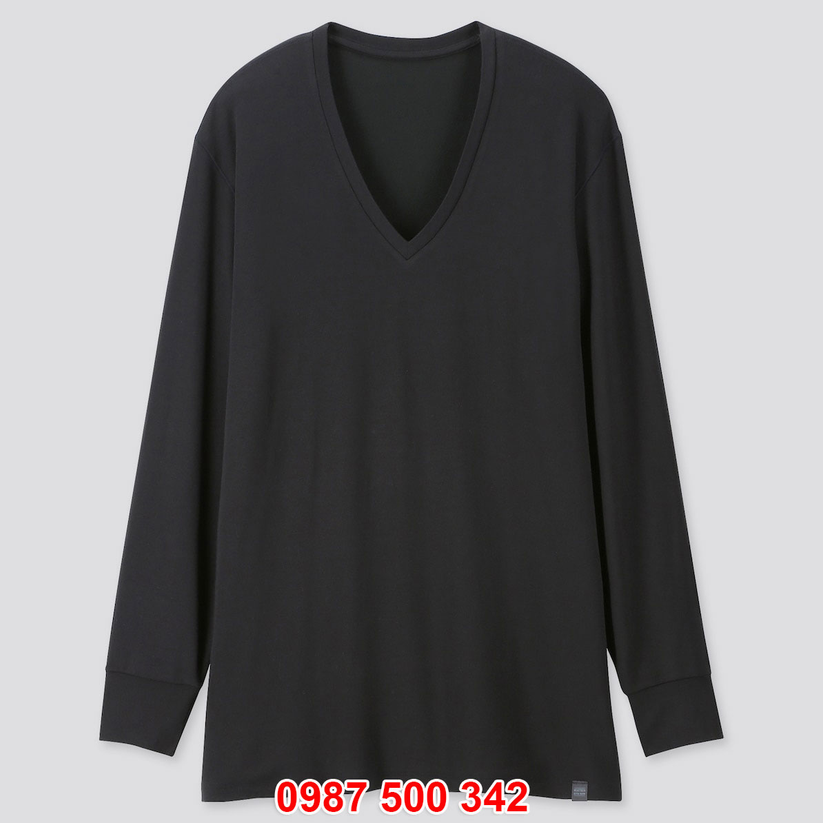 Áo giữ nhiệt nam Uniqlo Heattech Extra Warm cổ tim màu đen 09 BLACK