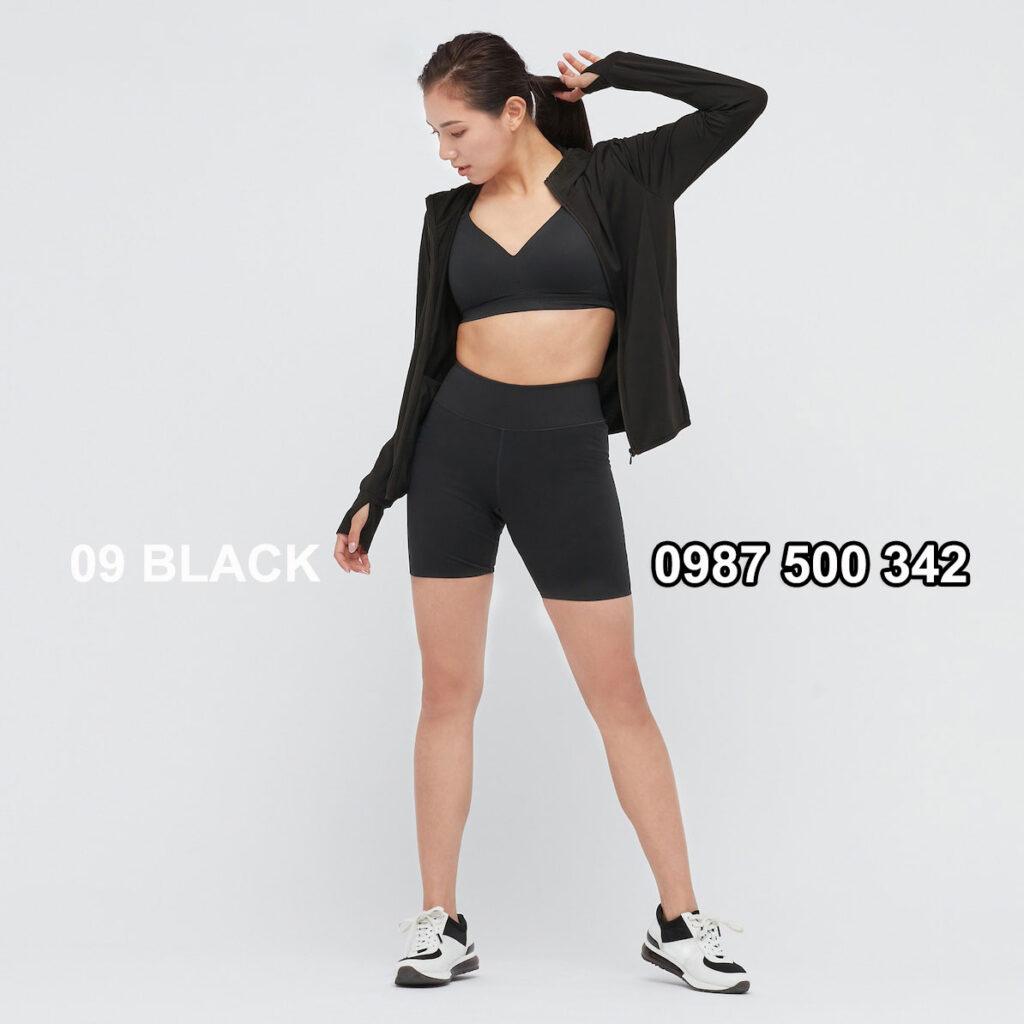 Áo chống nắng nữ Uniqlo AiRism 2021 màu đen 09 BLACK 433703