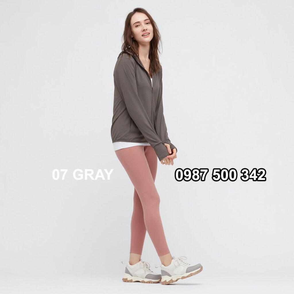 Áo chống nắng nữ Uniqlo AiRism 2021 màu ghi xám 07 GRAY 433703