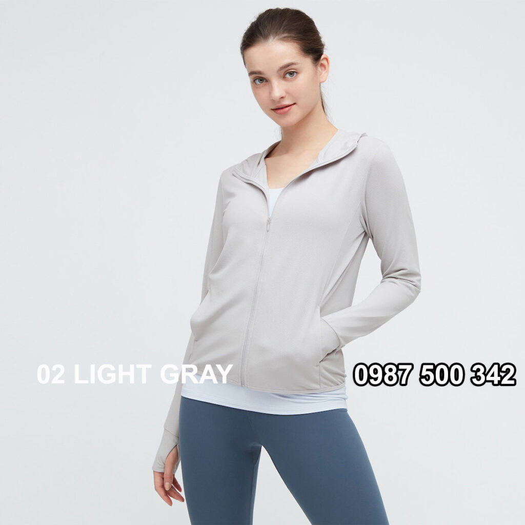 Áo chống nắng nữ Uniqlo AiRism 2021 màu ghi nhạt 02 LIGHT GRAY 433703