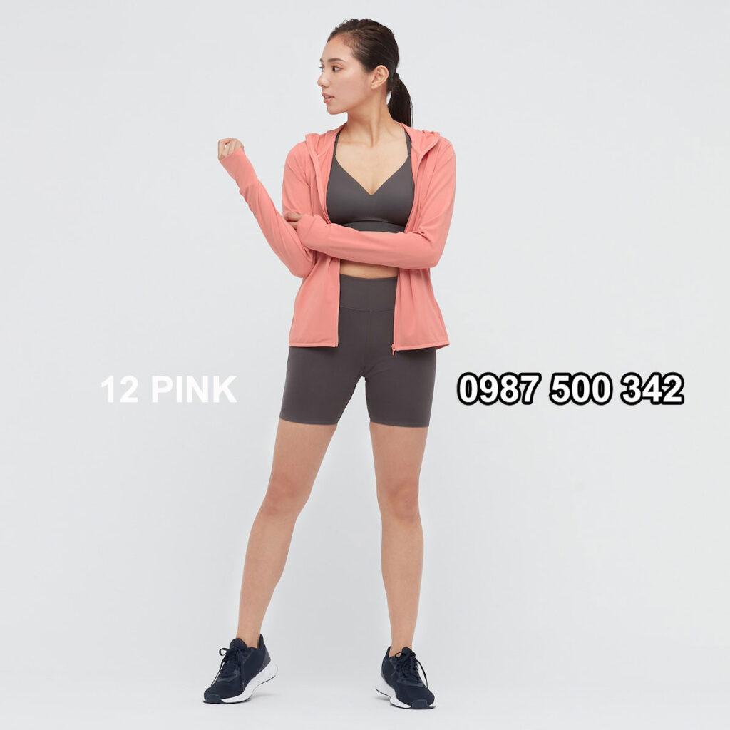 Áo chống nắng nữ Uniqlo AiRism 2021 màu hồng cam 12 PINK 433703