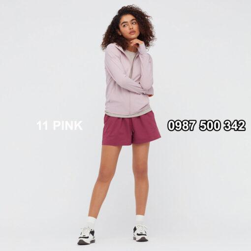Áo chống nắng nữ Uniqlo AiRism 2021 màu hồng nhạt 11 PINK 433703