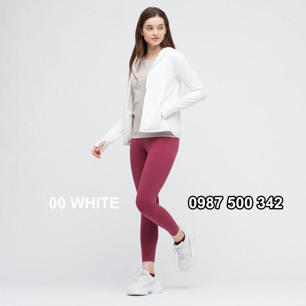 Áo chống nắng nữ Uniqlo AiRism 2021 màu trắng 00 WHITE 433703