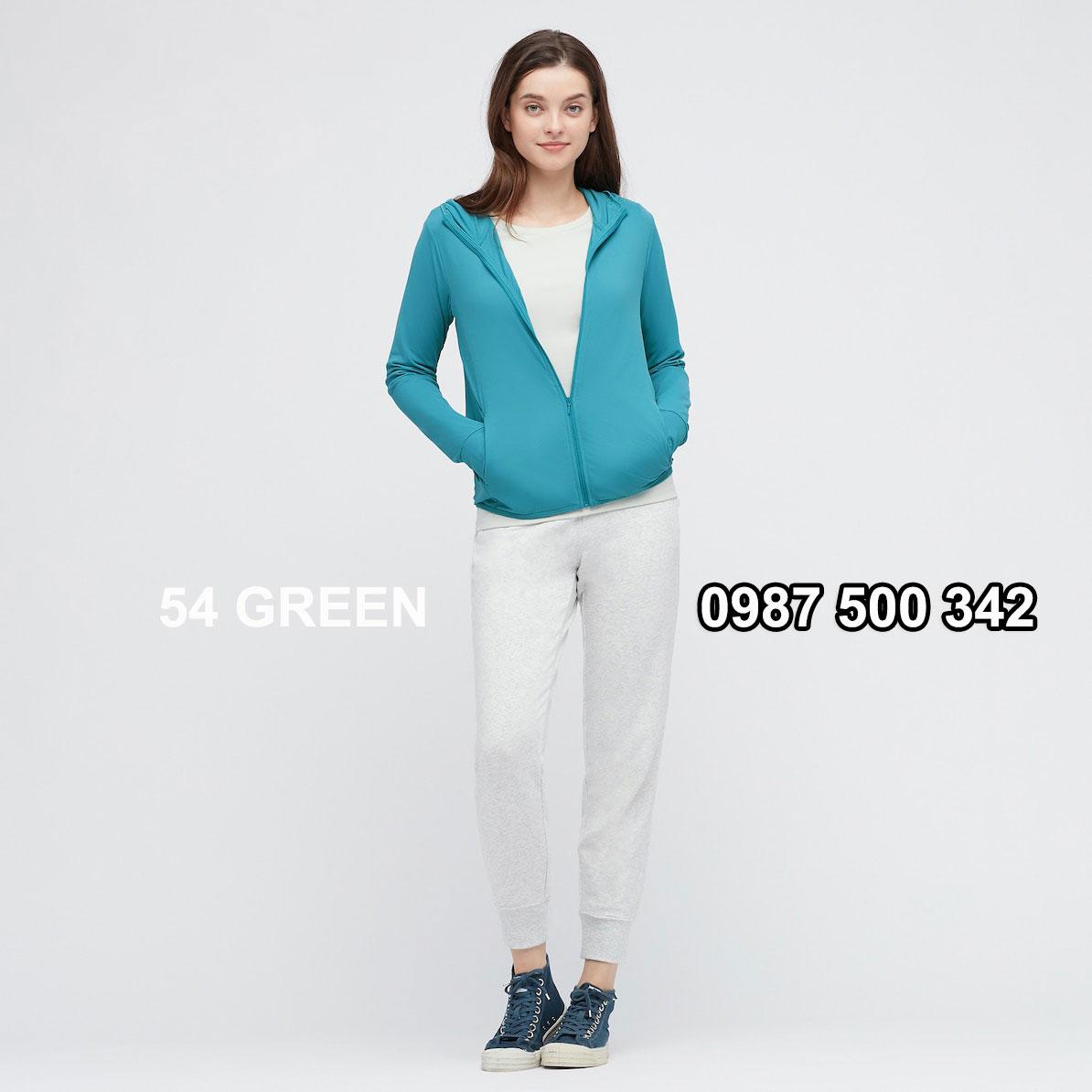Áo chống nắng nữ Uniqlo AiRism 2021 màu xanh biển 54 GREEN 433703