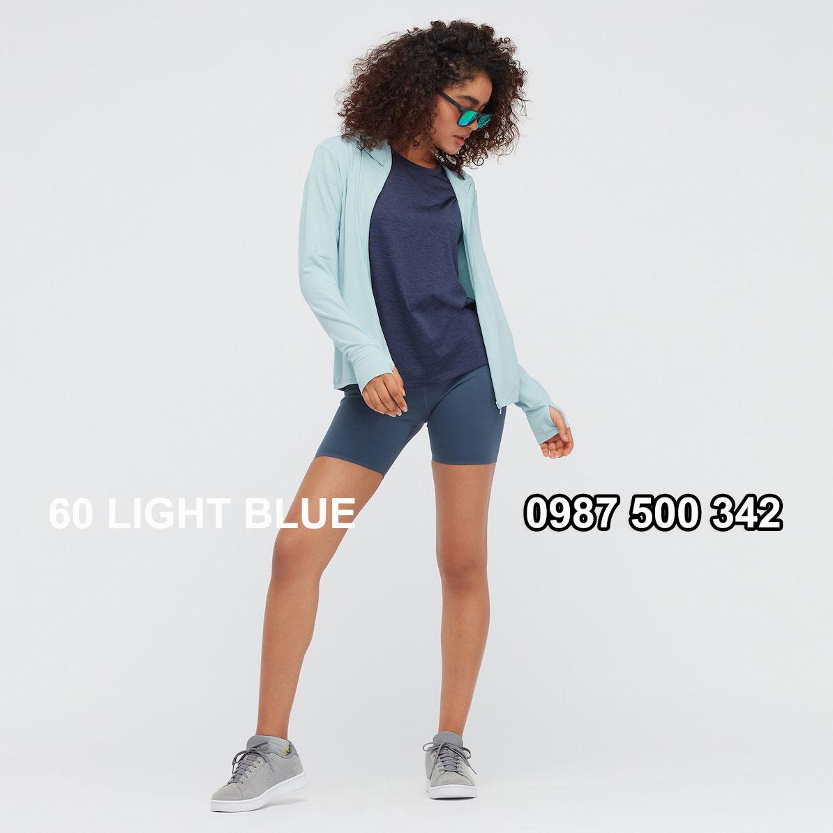 Áo chống nắng nữ Uniqlo AiRism 2021 màu xanh da trời 60 LIGHT BLUE 433703
