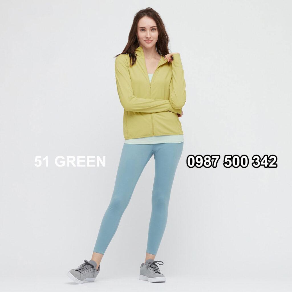 Áo chống nắng nữ Uniqlo AiRism 2021 màu xanh úa 51 GREEN 433703