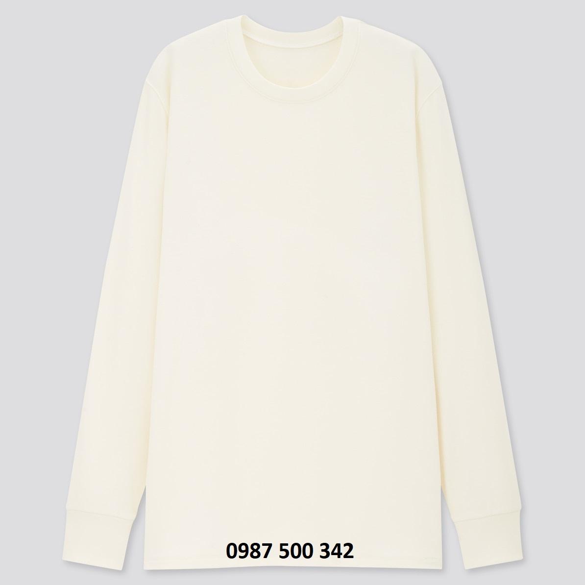 Áo giữ nhiệt nam cổ tròn Uniqlo Heattech Ultra Warm vải dày lót nỉ màu trắng 01 OFF WHITE