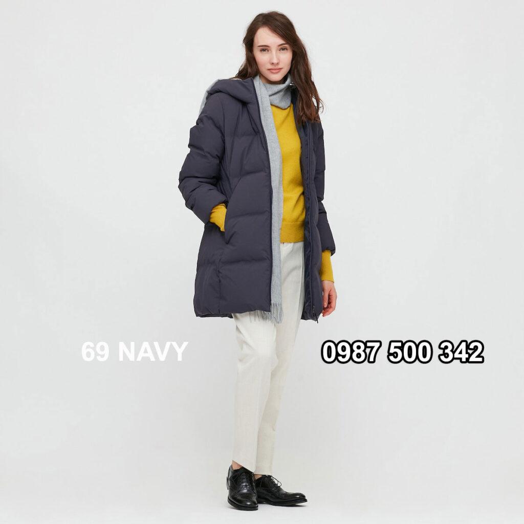 Áo lông vũ nữ đại hàn dáng lỡ Uniqlo Seamless Down 429467 màu xanh đen 69 NAVY